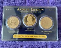 2008 FIRST DAY OF ISSUE ANDREW JACKSON PRESIDENTIAL COIN SET P, S & D