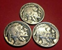 1935 PDS  VARIETY II,  LOT OF 3 BUFFALO NICKELS 5 CENT