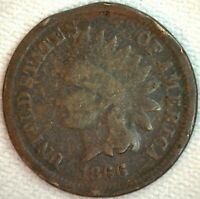 1866 INDIAN HEAD PENNY UNITED STATES ONE CENT 1C US TYPE COIN YG  K27