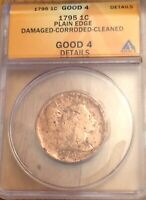 1795 LARGE CENT 1C ANACS GOOD 4 PLAIN EDGE DETAILS CORRODED/CLEANED BOLD DATE