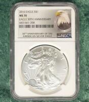 2016 NGC MS70 30TH ANNIVERSARY SILVER EAGLE DOLLAR, 1 OUNCE FINE SILVER $1 COIN