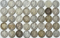 1892-1916 25C BARBER QUARTER 40 COIN LOT $10 ROLL CIRCULATED S P O D MINT MARKS