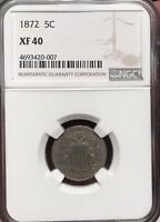 1872 SHIELD NICKEL EXTRA FINE  40 NGC REPUNCHED DATE RPD