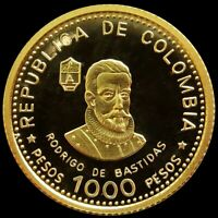 1975 GOLD COLOMBIA 4.3 GRAMS PROOF 1000 PESOS 450TH ANNIV. S