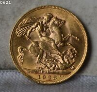 1928 GREAT BRITAIN 1 SOVEREIGN GOLD