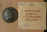 1825 CLASSIC HEAD HALF CENT, GRADES VG, IDENTIFIED C2 BY GRELLMAN IN 1996. EAC.