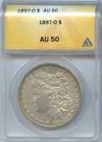 1897 O $1 AU 50 ANACS ALMOST ABOUT UNCIRCULATED MORGAN SILVER DOLLAR