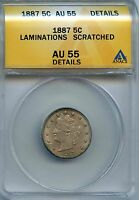 1887 5C ANACS AU 55 DETAILS ALMOST, ABOUT UNCIRCULATED LIBERTY HEAD NICKEL