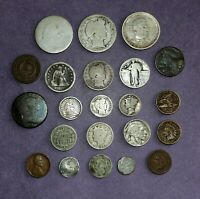 JUNK DRAWER COIN COLLECTION LOT   1894 S HALF LARGE 2 3 HALF CENT HALF DIME