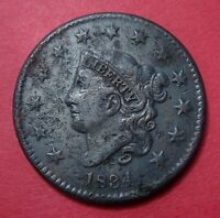 1834 MATRON HEAD LARGE CENT   SMALL 8 LARGE STARS   STRONG DETAILS