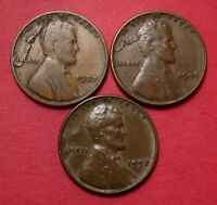 3 LINCOLN WHEAT CENTS WITH MINT ERROR   LAMINATION PEEL   1937 1946 1957