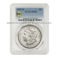 1897-O $1 MORGAN PCGS MINT STATE 63 CHOICE GRADED NEW ORLEANS SILVER DOLLAR COIN WHITE
