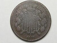 BETTER-DATE 1871 US SHIELD TWO CENT COIN. 2.  38
