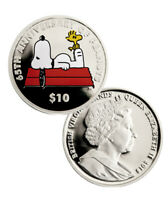 2015 $10 PROOF STERLING SILVER SNOOPY   BRITISH V.I. 65TH ANNIVERSARY OF PEANUTS