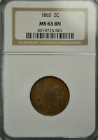 1865 2 CENT, NGC MINT STATE 63 BN