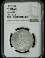 1830 CAPPED BUST HALF DOLLAR NGC GRADED VF DETAILS - CLEANED 048 SHIPS FREE