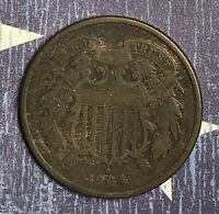 1864 2 CENT PIECE. COLLECTOR COIN FOR YOUR COLLECTION OR SET. FREE S/H