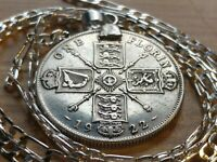 1920 1926 HIGH SHINE   UK SILVER FLORIN PENDANT  ON A 26