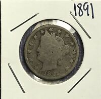1891 LIBERTY V NICKEL. COLLECTOR COIN FOR YOUR COLLECTION.