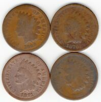 1869 1870 1871 1872 INDIAN HEAD CENT TOTAL OF 4 PENNIES