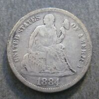 1884  SEATED LIBERTY  DIME -  90 SILVER  - P1087