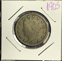 1905 LIBERTY V NICKEL.  COLLECTOR COIN FOR YOUR COLLECTION.