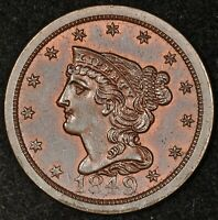 1849 BRAIDED HAIR HALF CENT UNCIRCULATED GLOSSY SURFACES