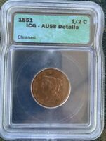 1851 1/2C BRAIDED HAIR HALF CENT ICG AU58 DETAILS  OLD TYPE COIN
