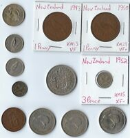 NEW ZEALAND LOT OF 12 DIFFERENT PREDECIMAL INCLUDES SILVER