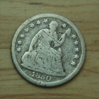 1850 LIBERTY SEATED SILVER HALF DIME   10C   NO RESERVE