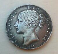 VICTORIAN 1845 SILVER CROWN COIN IN EXCELLENT CONDITION