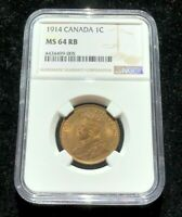 1914 CANADA 1 CENT NGC MS 64 RB CH / GEM BU W/ ORIGINAL LUST