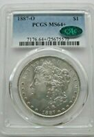 1887O MORGAN SILVER DOLLAR.  PCGS MINT STATE 64 WITH CAC