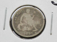 1891-O LIBERTY SEATED 90 SILVER DIME U.S. COIN D2737