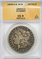 1898-S $1 ANACS VG 8 DETAILS CLEANED MORGAN SILVER DOLLAR
