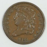 1832 CLASSIC HEAD HALF CENT EXTRA FINE 1/2-CENT
