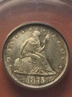 1875 S TWENTY CENT PIECE ANACS AU58 DETAILS; CLEANED;  IN THIS CONDITION