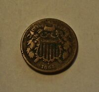 1864 TWO CENT US COPPER COIN