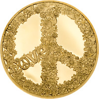PALAU 2018 $1 LOVE AND PEACE 0 5 G PROOF GOLD COIN