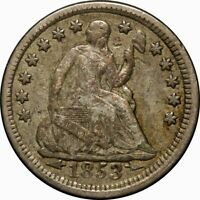 1853 H10C SEATED LIBERTY SILVER HALF DIME VF WITH ARROWS  OLD TYPE COIN