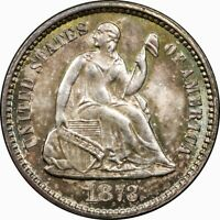 1873 H10C SEATED LIBERTY SILVER HALF DIME MS BU UNC NO ARROWS  OLD TYPE COIN