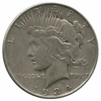 1934-D TOP 50 VAM-3 DOUBLED OBVERSE, MEDIUM D PEACE DOLLAR CLEANED