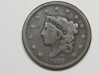 1837 US CORONET HEAD LARGE CENT COIN SMALL LETTERS.  21