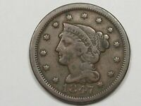 1847 US BRAIDED HAIR LARGE CENT COIN.  18