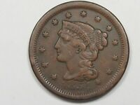 1854 US BRAIDED HAIR LARGE CENT COIN.  20