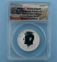 2014 W ANACS RP 69 DEEP CAMEO REVERSE PROOF SILVER KENNEDY FIRST STRIKE COIN