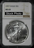 1997AMERICAN SILVER EAGLENGC MINT STATE 69 -60907