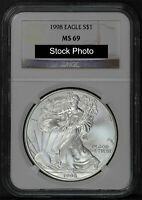 1998 AMERICAN SILVER EAGLE NGC MINT STATE 69 -161639