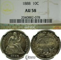 1888 10C SEATED LIBERTY SILVER DIME NGC AU58  OLD TYPE COIN