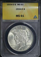 1934-D PEACE DOLLAR ANACS MINT STATE 61 -181002